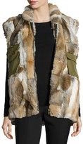 Adrienne Landau Rabbit Fur & Canvas Vest, Natural/Brown