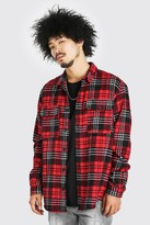 boohoo Mens Red Oversized Long Sleeve Brushed Check Shirt, Red