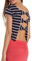 Charlotte Russe Bow-Back Striped Crop Top