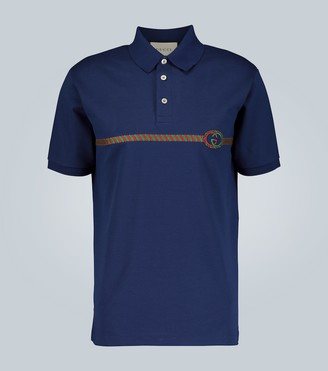 Gucci Embroidered oversized polo shirt