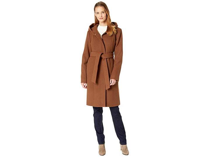Vince Camuto Belted Hooded Wool Coat R8391