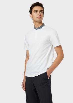 Emporio Armani Pique Polo Shirt With Guru Collar