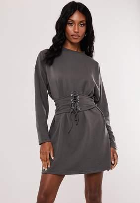 Missguided Dark Grey Oversized Corset Waist T Shirt Dress