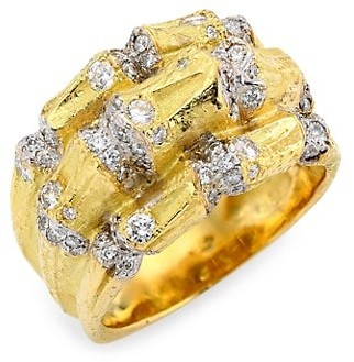 Katy Briscoe Bamboo 18K Yellow Gold & Diamond Statement Ring