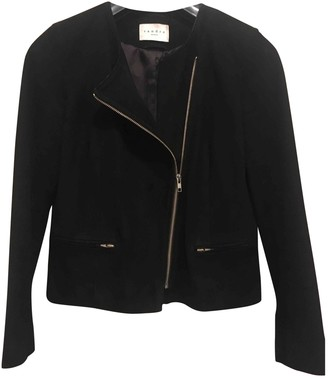 Sandro Black Suede Leather jackets