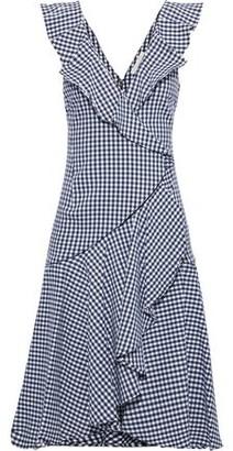 Jonathan Simkhai Wrap-effect Ruffled Gingham Cotton-blend Dress