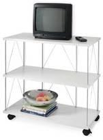 White 3-Shelf Entertainment Cart