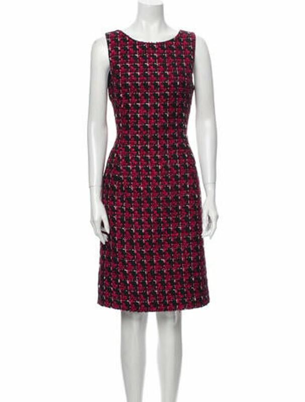 Thumbnail for your product : Oscar de la Renta Printed Knee-Length Dress Red