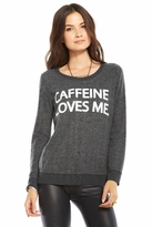 Chaser LA Caffeine Loves Me Long Sleeve Panel Tee in Black