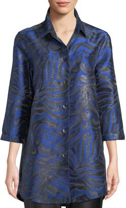 Caroline Rose 3/4-Sleeve Button-Front Shimmering Animal-Jacquard Boyfriend Shirt