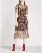 Sandro Pleated floral-print chiffon midi dress