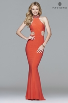 Faviana 7728 Jersey Jewel Neck Evening Dress with Side Cut-Outs