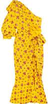 Gucci One-shoulder Metallic Silk-blend Jacquard Midi Dress - Yellow