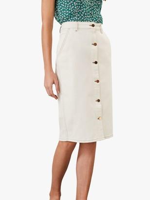 Phase Eight Ellama Denim Skirt, White