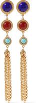 Ben-Amun Gold-tone stone clip earrings