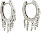 Sydney Evan Pave Diamond Fringe Drop Hoop Earrings - White Gold
