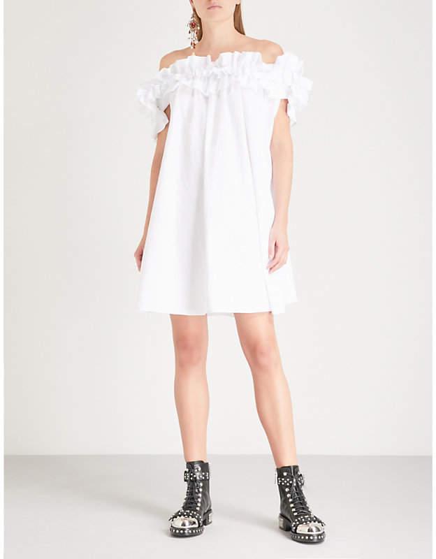 Alexander McQueen Off-the-shoulder ruffled cotton dress
