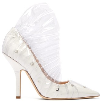 Midnight 00 Shell Crescent Leather And Pvc Ruffle Pumps - Womens - White