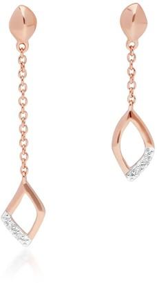 Asymmetric Diamond Pave Dangle Earrings In Rose Gold