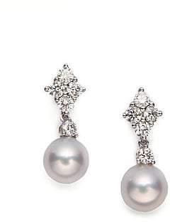 Mikimoto Women's 7.5MM White Cultured Akoya Pearl, Diamond & 18K White Gold Drop Earrings