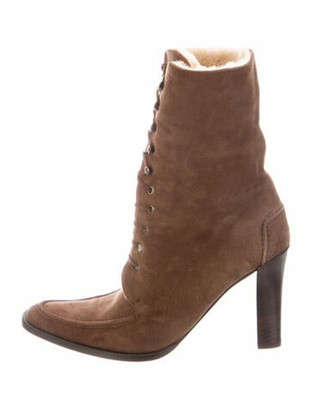 Ralph Lauren Collection Suede Fur Trim Hiking Boots Brown