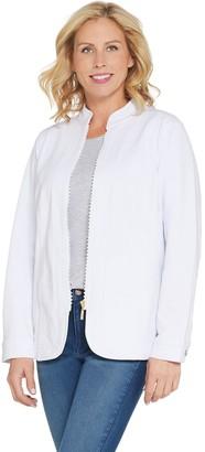 Quacker Factory DreamJeannes Glam Zipper Front Jacket
