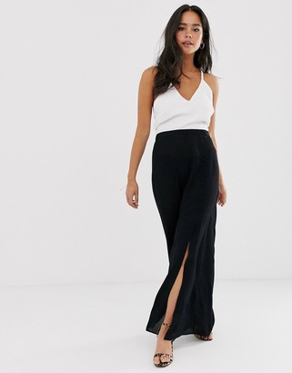 Asos Design DESIGN crinkle maxi skirt with self covered buttons