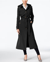 London Fog Petite Hooded Maxi Trench Coat