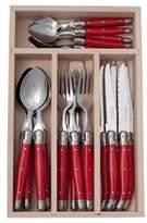 Laguiole Andre Verdier Debutant Mirror 24 Piece Cutlery Set Red
