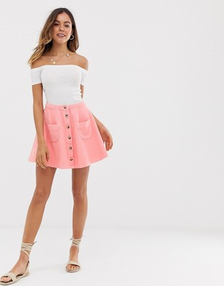 Asos Design DESIGN cord mini skater skirt with buttons and pockets