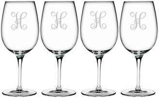 One Kings Lane Set of 4 Vine Monogram Bordeaux Glasses - clear