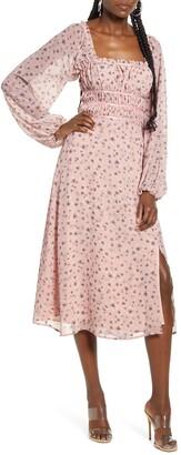 WAYF x Influencing in Color Liza Smocked Long Sleeve Midi Dress