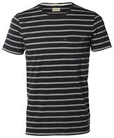 Selected Homme Sall Stripe Crew Neck T-shirt, Dark Navy