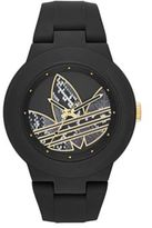 adidas Matte Black Silicone and Goldtone Logo-Print Watch