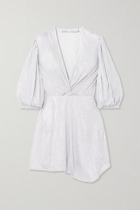 IRO Twist-front Sequined Mesh Mini Dress - Silver