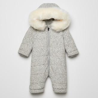 River Island Baby grey RIR faux fur hooded snowsuit
