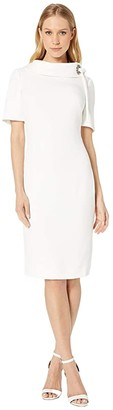 Badgley Mischka Tie Neck Dress (Ivory) Women's Dress