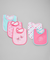 Luvable Friends Pink Butterfly Bibs - Set of Five