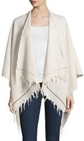 Rag & Bone Summer Stripe Cotton Open-Front Poncho, Light Gray