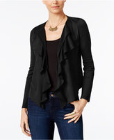 INC International Concepts Petite Faux-Suede Cascade Cardigan, Only at Macy's