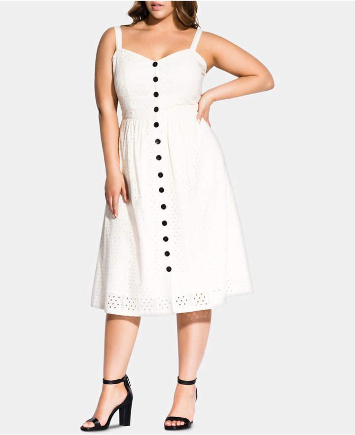 Trendy Plus Size Eyelet Midi Dress