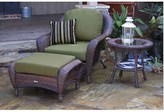 Sangria Fleischmann 3 Piece Arm Chair, Ottoman and Table Set with Cushions Darby Home Co Color: Java, Fabric: Montfleuri