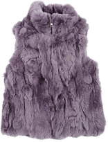 Adrienne Landau Textured Rabbit Fur Vest-PURPLE