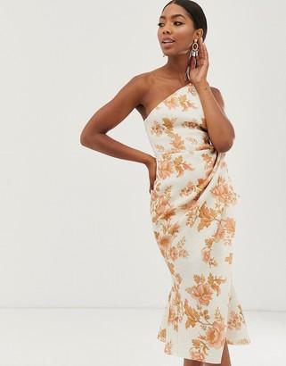 Asos DESIGN one shoulder tuck detail midi dress in Floral Print