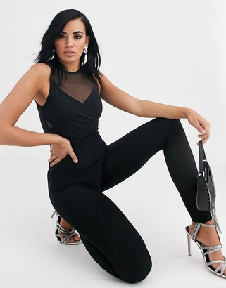 The Girlcode bandage jumpsuit with chiffon detail in black
