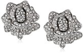 Kenneth Jay Lane Bride Clear Crystal Rose Flower Clip-On Earrings