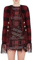 Balmain Women's Checked Mohair-Blend Collarless Jacket
