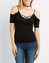 Charlotte Russe Ribbed Strappy Cold Shoulder Top