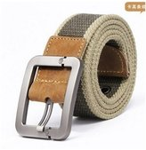 Lacasa Fashion High Quality Men's Canvas Military Buckle Belts (Khaki Belt with Silver Buckle)