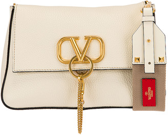 Valentino Small VRing Shoulder Bag in Light Ivory & Natural | FWRD